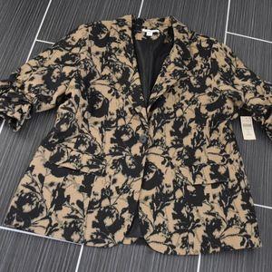 Coldwater Creek Jacket Size 18 NWT Black Tan Print